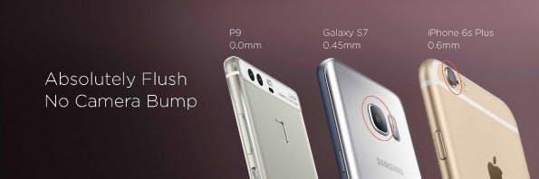 Huawei hebt die fehlende Kamerabeule bei seinem P9 hervor. (Bild: Hauwei)