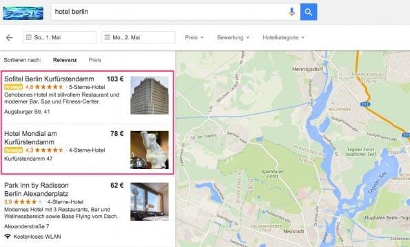 Ärgerlich für Local SEO: Google schaltet neuerdings Werbeanzeigen im Local Finder. (Screenshot: Google; t3n)