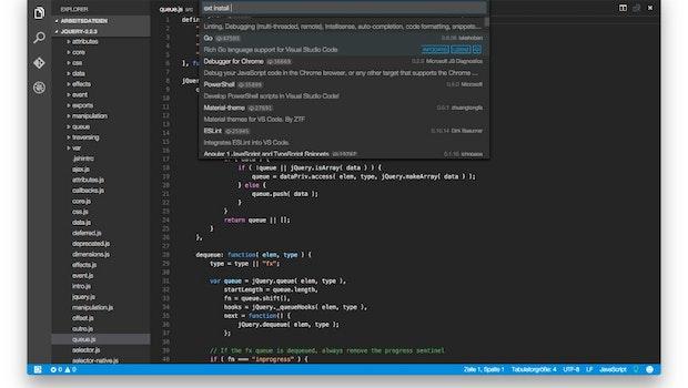 Quelloffener Code-Editor von Microsoft: Visual Studio Code ist in Version 1.0 erschienen. (Screenshot: Visual Studio Code)