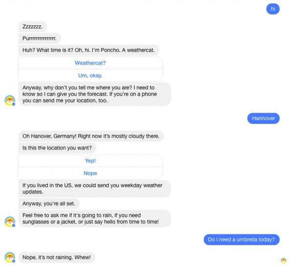 Der Poncho-Bot setzt auf Smalltalk und Humor und antwortet im Kurztest sehr zufriedenstellend. (Screenshot: t3n.de)