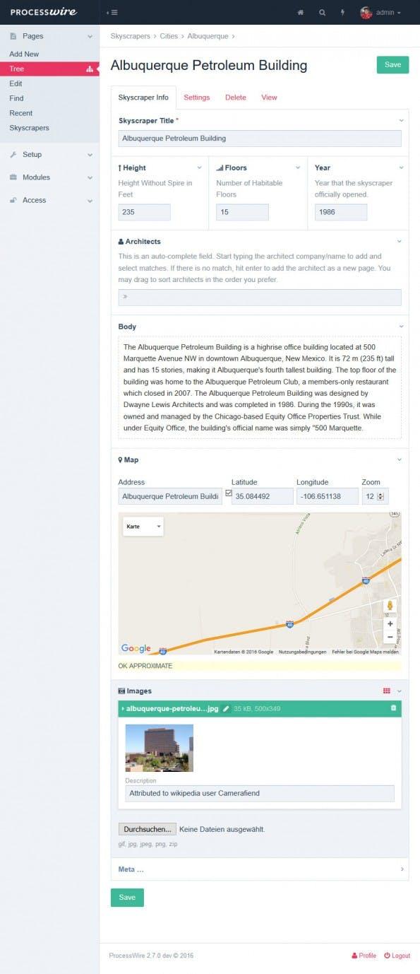 ProcessWire organisiert Inhalte in Feldern, sodass sie flexibler genutzt werden können. (Screenshot: ProcessWire-Demo)