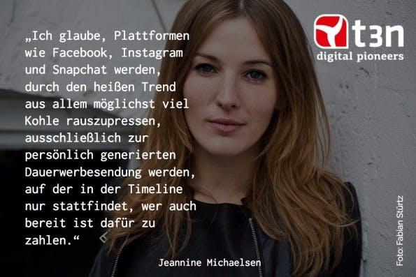 10 Jahre re:publica: Moderatorin und Schauspielerin Jeannine Michaelsen. (Grafik: t3n/getstencil.com, Foto: Fabian Stürtz)