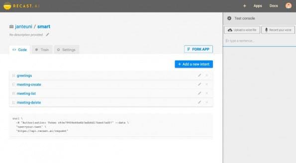 Recast.AI soll die Entwicklung cleverer Chat-Bots deutlich vereinfachen. (Screenshot: Recast.AI)