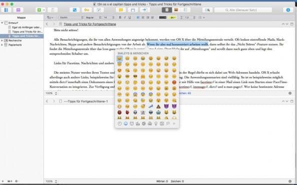 Wie auf dem Smartphone auch, könnt ihr auf dem Mac Emoticons in jedem Textfeld verwenden. (Screenshot: t3n)