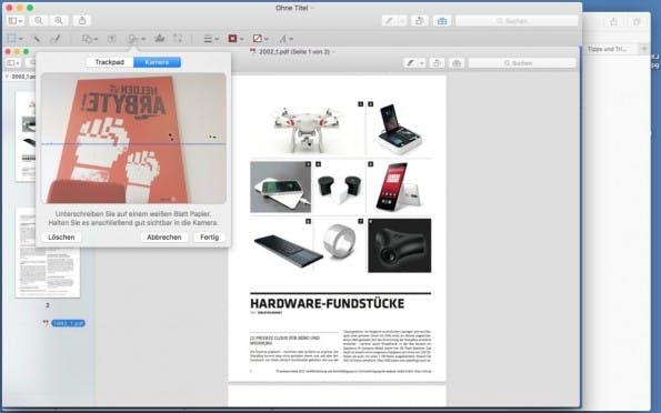 Ihr könnt PDFs mittels der FaceTime-Kamera und einer analogen Unterschrift signieren. (Screenshot: t3n)
