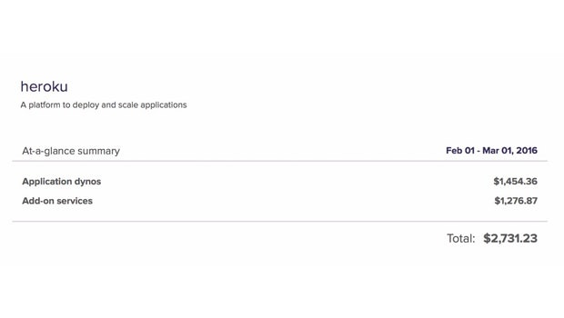 Fast 3.000 US-Dollar zahlt Unsplash in etwa monatlich an Heroku. (Screenshot: Unsplash)