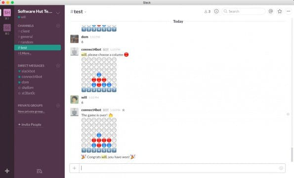 """Vier gewinnt"" im Slack-Channel. (Screenshot: Slack Connect 4 Bot)"