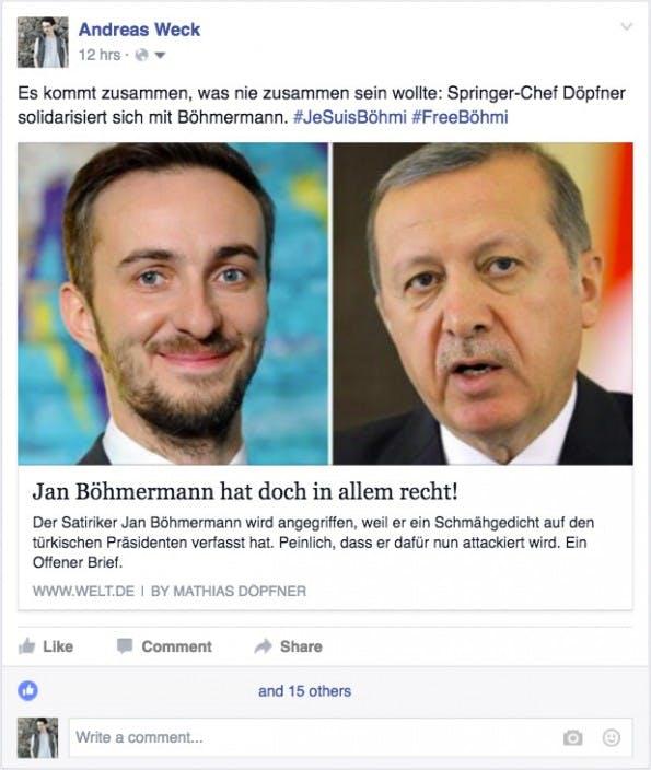 Böhmermann vs. Erdogan beschäftigt ganz Deutschland. Doch Facebook will dass du weniger News und mehr Privates postest. (Screenshot: t3n.de)