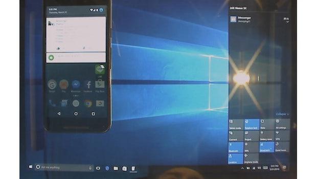 Die Action Bar von Windows 10 zeigt bald Benachrichtigungen von Android-Apps an.