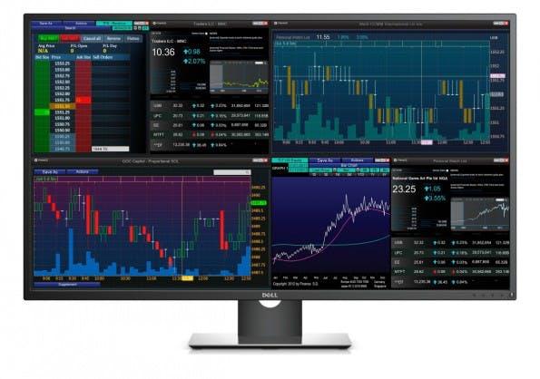 Für Trader und Software-Entwickler: Dells Multi-Client Monitor P4317Q. (Foto: Dell)
