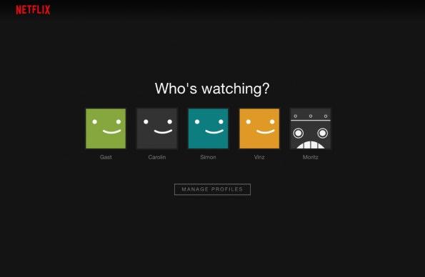 Auch Netflix verleitet zum Teilen eines Accounts mit fünf Nutzerprofilen. (Screenshot: Netflix.com)