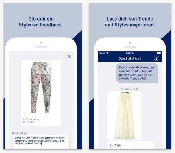 Zalando: Modeberatung per Zalon-Messenger. (Screenshot: Apple/Zalando)