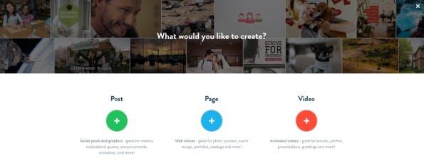 Was wirst du heute designen? (Screenshot: adobespark.com)