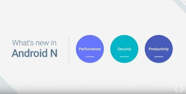 Die wichtigsten Neuerungen von Android N sind in drei Kategorien unterteilt. (Bild: Google)