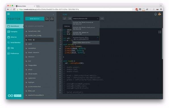 Arduino Create Web Editor: Die Hardware-Platinen können zukünftig direkt im Browser programmiert werden. (Screenshot: arduino.cc)