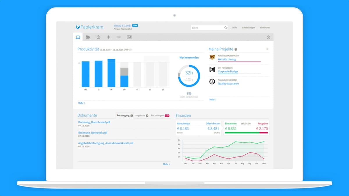 Buchhaltungssoftware aus der Cloud für Selbstständige und kleine Unternehmen: Das kann Papierkram.de