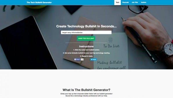 Tech-Buzzwords: Der Bullshit-Generator lässt euch wie ein Profi klingen. (Screenshot: makebullshit.com)