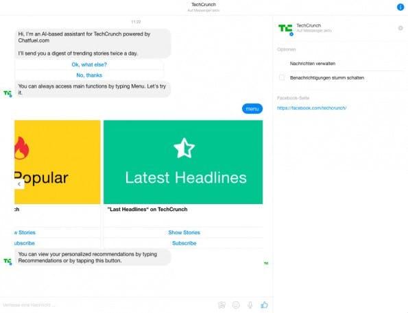 Chat-Bots für den Facebook-Messenger ohne eine Zeile Code entwickeln: TechCrunch setzt auf die Chatfuel-Technologie. (Screenshot: messenger.com)