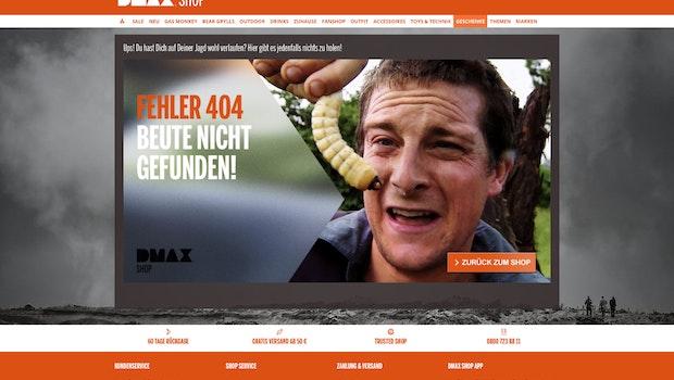 Die 404-Fehlerseite eines Outdoor-Shops. (Screenshot: dmax-shop.de)