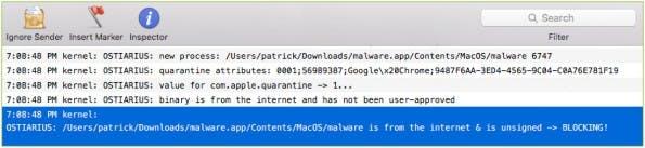 Wo Apples Gatekeeper versagt: Ostiarius verhindert die Ausführung unsignierter Apps aus dem Internet. (Screenshot: Objective-See)