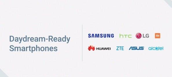 Diese Hersteller werden in diesem Jahr Daydream-kompatible Smartphones im Programm haben. (Screenshot: Google)
