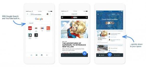 Spaces integriert unter anderem die Google-Suche, Youtube und Chrome. (Screenshot: Google / Alphabet)