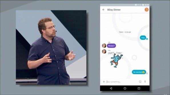 Google Allo sieht dem Facebook Messenger sehr ähnlich und ist ebenfalls an die Telefonnummer gekoppelt. (Screenshot: youtube.com)