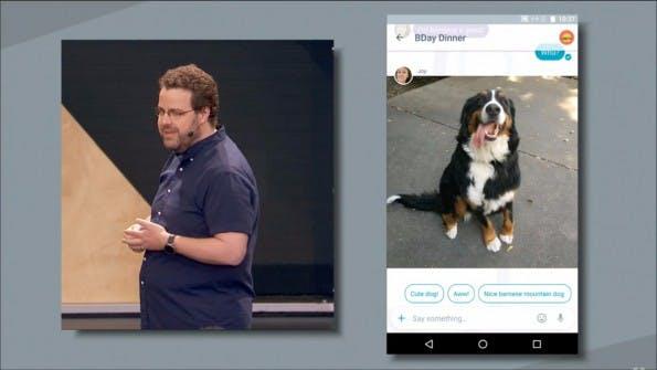 Google Allo erkennt Bildinhalte und bietet passende Schnellantworten an. (Screenshot: youtube.com)