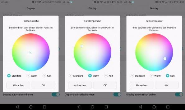 Per Farbtemperatur-Regler lässt sich das Display des Huawei P9 farblich stufenlos anpassen. (Screenshots: t3n)