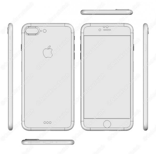 Diese Skizze soll das iPhone 7 Plus von allen Seiten zeigen – inklusive Dual-Kamera. (Bild: Onleaks)