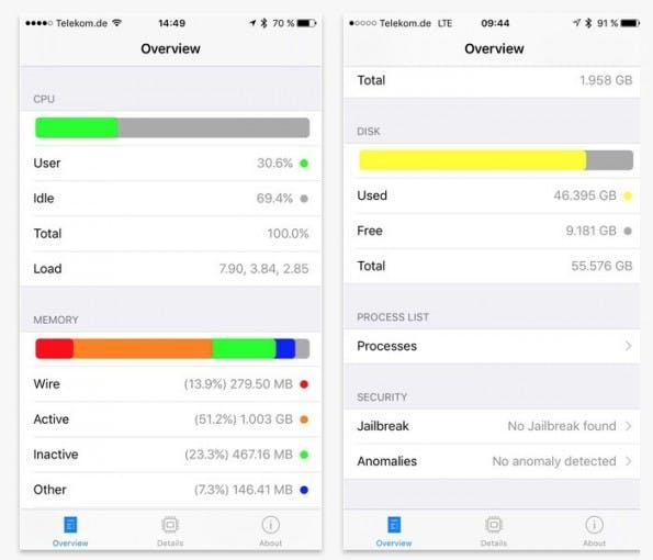 """iPhone-App """"System and Security Info"""" erkennt Jailbreak. (Screenshot: iTunes/SektionEins)"""