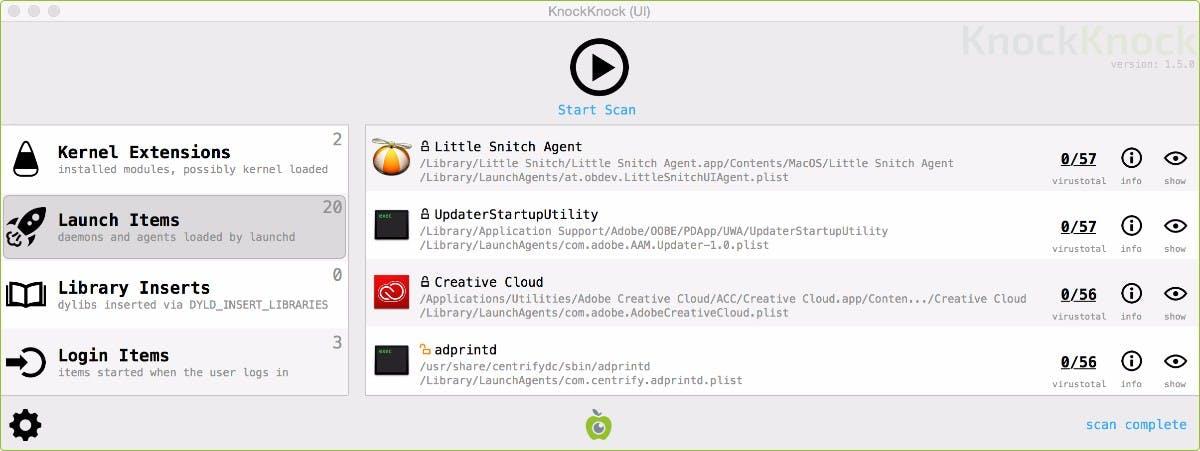 Malware installiert sich immer so, dass sie auch beim Neustart des Rechners noch Zugriff auf ihn hat. Das kostenlose Tool Knockknock ist in der Lage, alle Programme, Kernel-Erweiterungen oder Skripte darauf hin zu überprüfen, ob sie in diese Kategorie fallen. Außerdem gleicht das Tool die Daten mit der Virustotal-Datenbank ab und warnt euch vor möglichen Gefahrenquellen. (Screenshot: Objective-See)