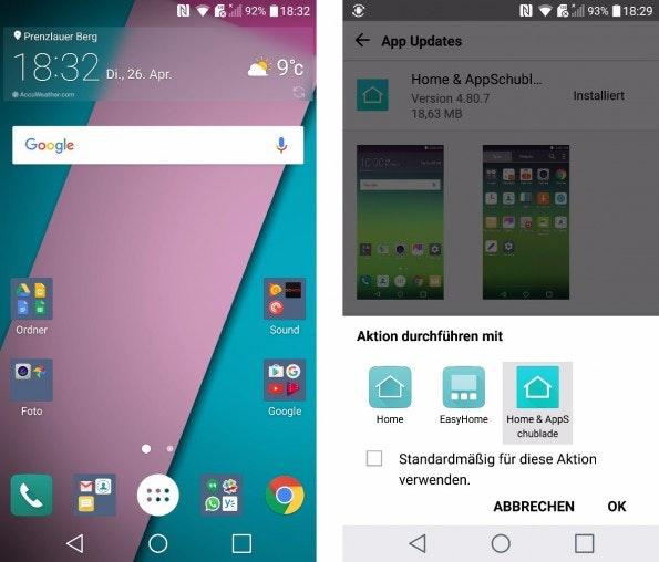 """... nach Kritik hat LG ein Update veröffentlicht und eine """"App-Schublade"""" nachgereicht. (Screenshot: t3n)"""