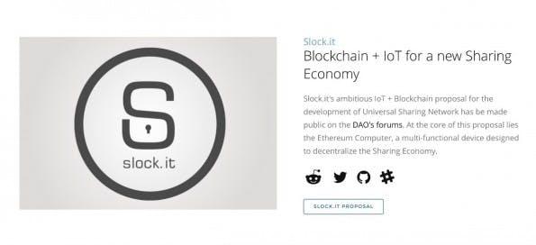Das deutsche Startup slock.it gehört zu den Pionieren auf The DAO. (Screenshot: The DAO)