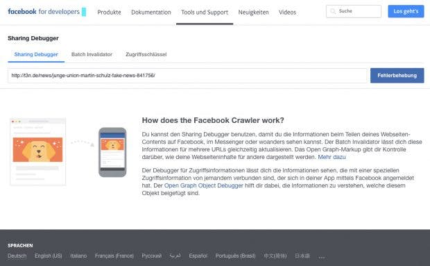 ecbd2c7ff71e80 Versteckte Facebook-Funktionen  Debugger