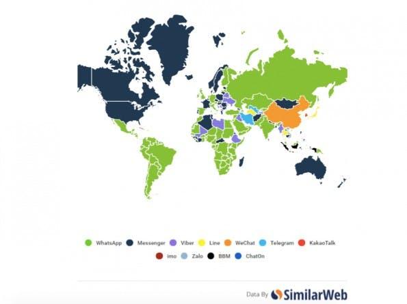 Die Weltkarte der populärsten Messenger. (Grafik: Similar Web)