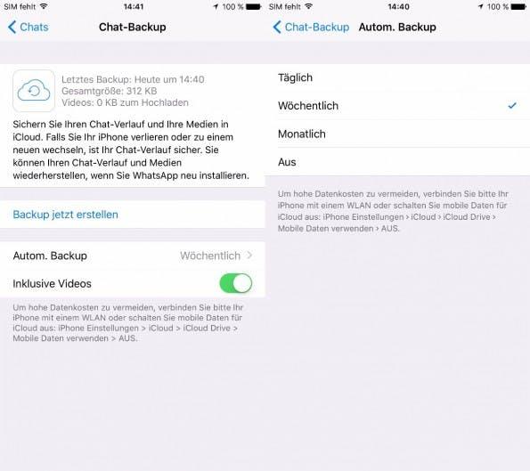 WhatsApp-Backup beim iPhone. (Bild: t3n)