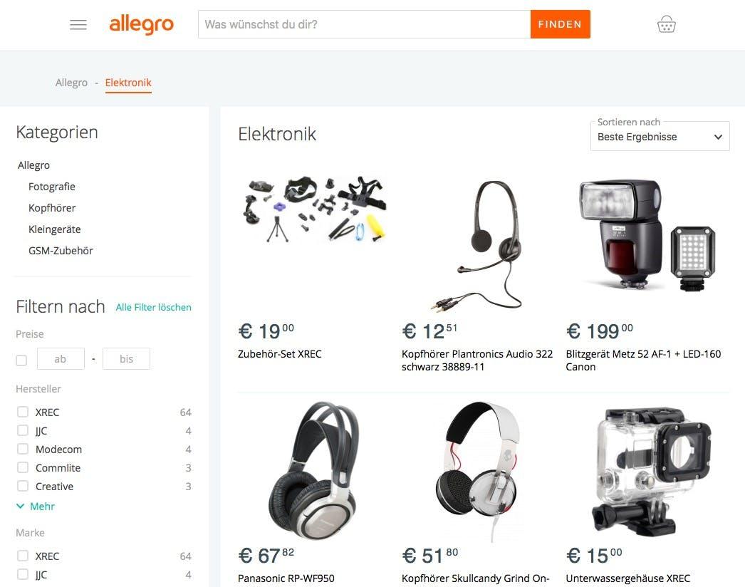 (Screenshot: Allegro.de)