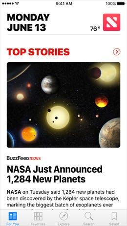 Apple News wurde optisch überarbeitet und kann jetzt auch Eilmeldungen von allen Publishern ausliefern. (Bild: Apple.com)