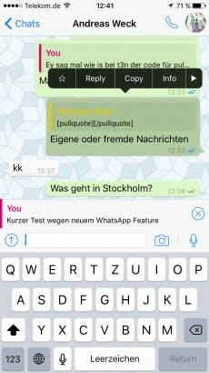 WhatsApp kann jetzt Nachrichten zitieren: Das kann bei der Übersicht in großen Chats helfen. (Screenshot: t3n)