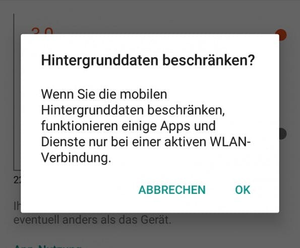 Unter Android könnt ihr in den Einstelullngen zum Datenverbrauch auch die mobilen Hintergrund-Daten beschränken. (Bild: t3n)