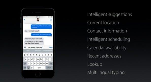 Quick Type unter iOS 10. (Bild: Apple)