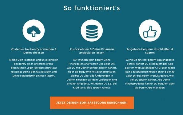 Bonify: Kostenlos die eigene Bonität abfragen. (Screenshot: bonify.de)