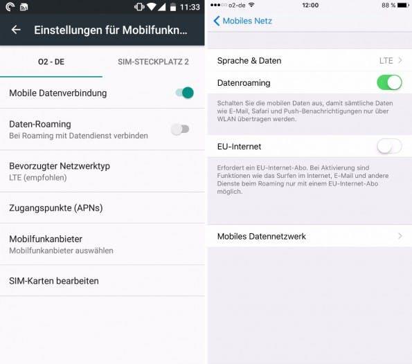 Sowohl unter Android als auch unter iOS könnt ihr die Roaming-Funktion deaktivieren. (Bild: t3n)