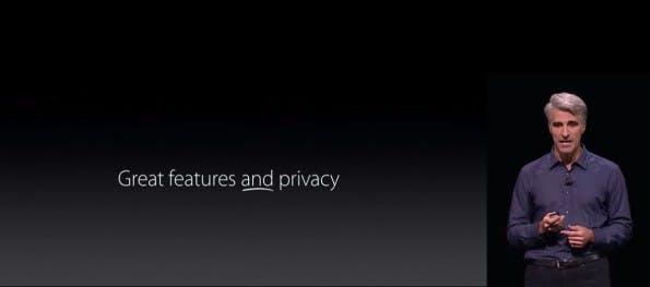 Mithilfe der Differential Privacy soll iOS 10 tolle Features bieten, ohne auf Privatsphäre verzichten zu müssen, so Apples Software-Chef Craig Federighi. (Screenshot: Apple)