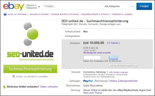 SEO-united.de wird auf eBay verkauft. (Screenshot: SEO-united.de)