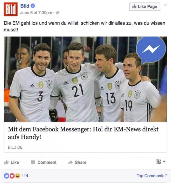 Die Bild nutzt den Facebook Messenger um Artikel zu teilen: Ab sofort können EM-News abonniert werden. (Screenshot: t3n.de)