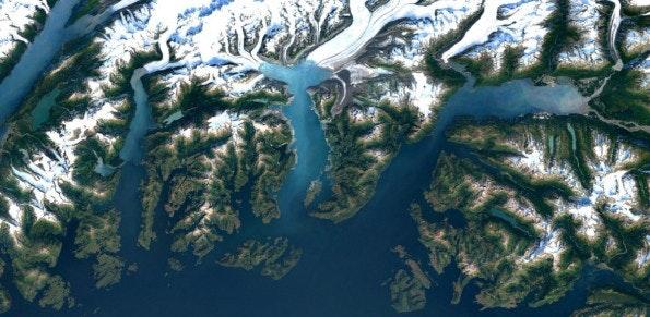 Google Maps: Der Columbia Gletscher in Alaska. (Bild: Google)