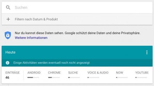 Mit Meine Aktivitäten gibt Google euch mehr Kontrolle über eure Daten. (Bild: Google; t3n)