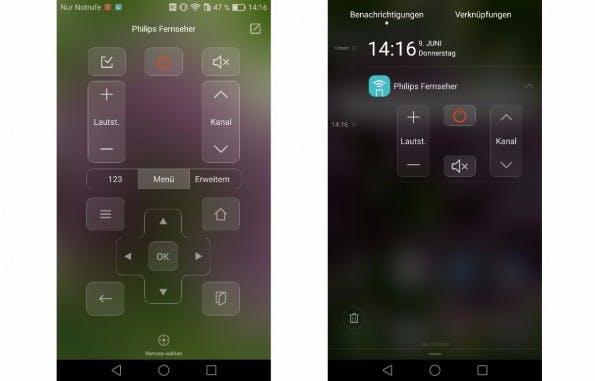 Mithilfe des integrierten Infrarot-Sensors könnt ihr das Huawei P9 Plus auch als Fernbedienung verwenden. (Screenshots: t3n)